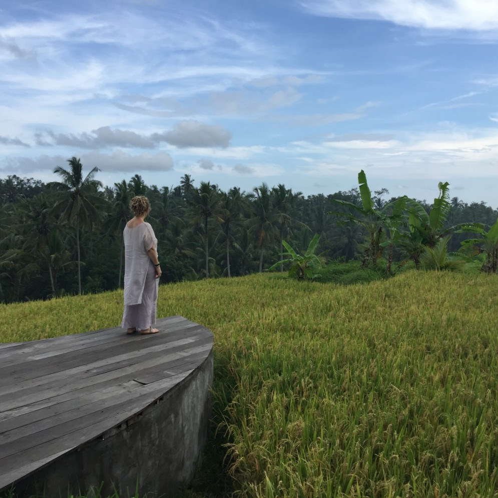 Taking in the lushness of Bali, shortly after arriving. Here I am overlooking the Paddy Fields in Ubud.