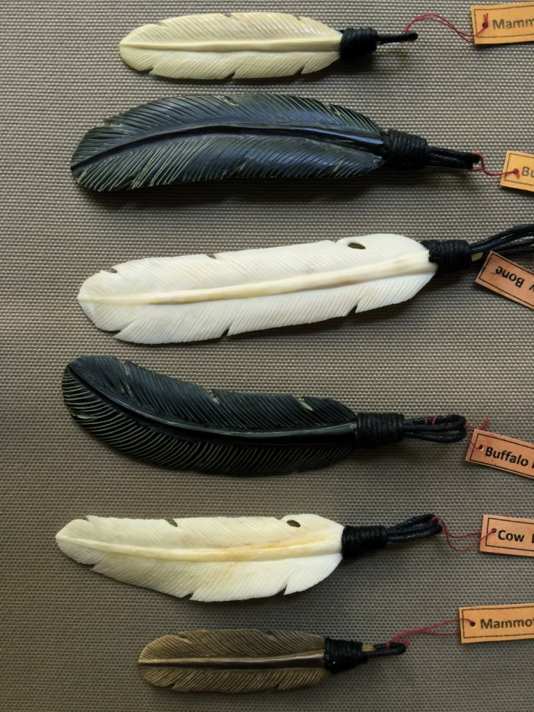 These feathers are hand carved using Cow & Buffalo Bone, some are made using Fossilised Mammoth bone.